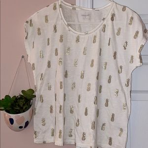 Pineapple print white t shirt